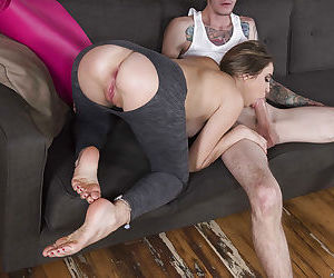 Young hottie Kinsley Eden has her yoga pants pulled down for anal fingering - part 2