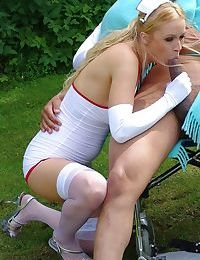 Hot teen nurse wants some of her patients BBC and she gets it too