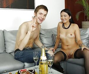 Asian Little Rita rides cock in cowgirl position and takes deep anal