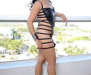 Pretty asian brunette milf Lucky undressing her pretty body - part 2