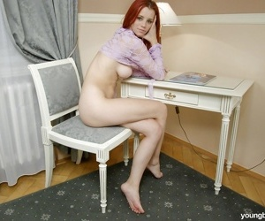 Redhead young princess Gabriella E removes jeans and shorts previous to wanking - part 2