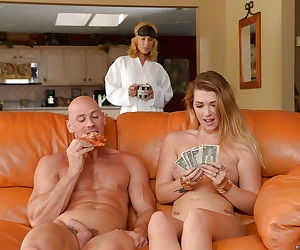 When blonde schoolgirl Jenna needs money she is giving blowjobs - part 2