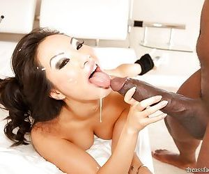 Top Asian pornstar Asa Akira penetrated by massive black cock in leg warmers - part 2