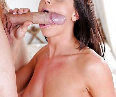 Brunette Rahyndee James is trying to swallow this big hard dick - part 2