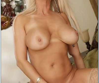 Mature busty Isabella Rossa stripping to stockings and feeling pussy - part 2
