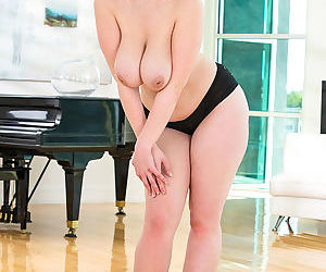 Blonde plumper exposing large saggy boobs and hairy vagina - part 2