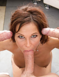 Big tit brunette milf gets fucked deep in all her holes at the same time - part 2