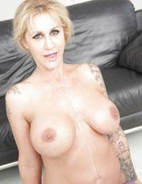 Mature blonde lady Ryan Conner undergoes interracial gangbang and blowbang - part 2