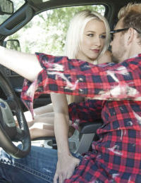 Sweet teen babe Stevie Shae gives a blowjob and gets fucked in the car