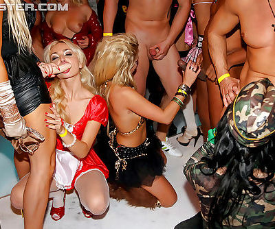 Arousing gals have some strapon and pussy lick fun at the party