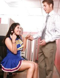 Asian cheerleader with shaved cunt London Keys gets fucked and facialized
