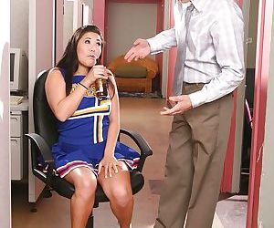 Asian cheerleader with shaved cunt London Keys gets fucked with the addition of facialized