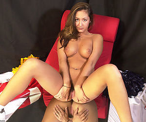 Amateur Latina chick Mailia releasing tiny breasts from cheerleader outfit - part 2