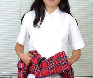 Cambodian schoolgirl Tiffany flashing white upskirt underwear