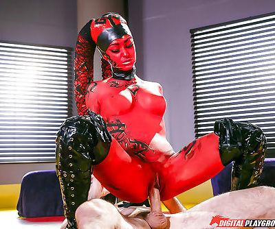 MILF pornstar Kleio Valentien taking cumshot on tongue after cosplay sex