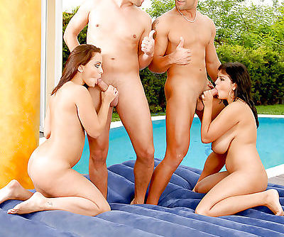 Lustful temptresses with hot jugs enjoy foursome with double penetration
