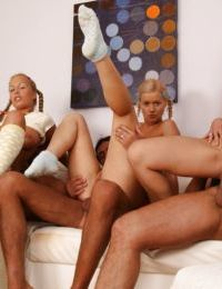 Lovely blonde gals with hot fannies are into hardcore groupsex