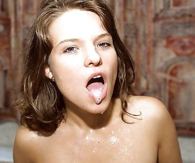 Innocent looking slut Lucie A double penetrated and covered in gangbang cum - part 2