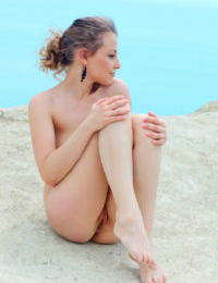 European Nikia A posing naked toshow young tiny tits & sweet ass by the sea - part 2
