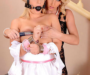 Stocking and lingerie clad blonde anally fucks cute blonde maid in uniform - part 2