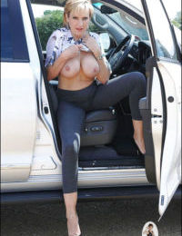Mature vixen uncovering her big cans and getting rid of her tights - part 2