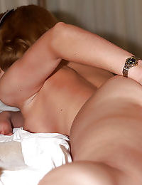 Lovely blonde babe slipping off her bikini and toying her honey pot - part 2