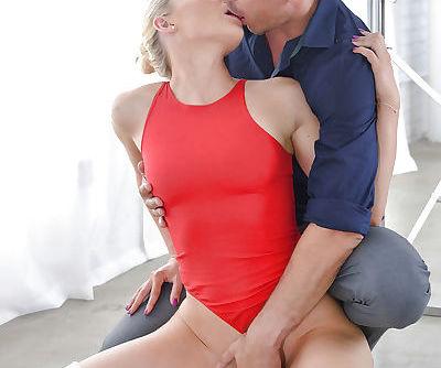 Kinky blonde ballerina Staci Carr getting her pretty face jizzed on