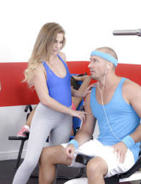 Teen pornstar Sydney Cole fucking man with big dick during fitness class