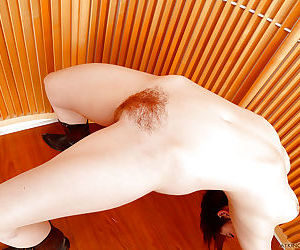 Redhead MILF Lily Cade spreading hairy vagina in cowgirl boots