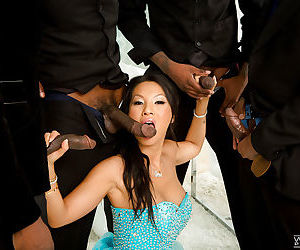 Horny Asian slut Asa Akira getting blowbanged by black cocks