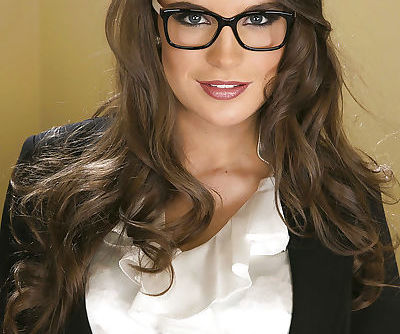 Sexy office babe in glasses Teal Conrad revealing her magnetic body