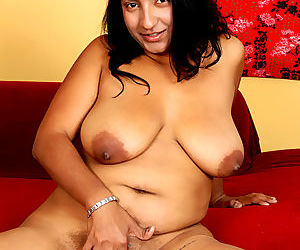 Indian plumper Charumati A getting jizz on floppy boobs after fucking on sofa