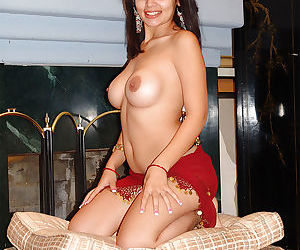 Adorable busty indian babe on high heels stripping and spreading her legs - part 2