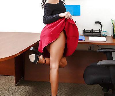Brunette Megan Rain amazing office nudity and slow ass masturbation