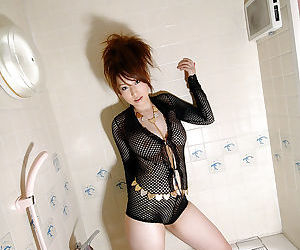 Hot asian toddler exceeding heels Ai Sayama stripping and state of affairs her legs