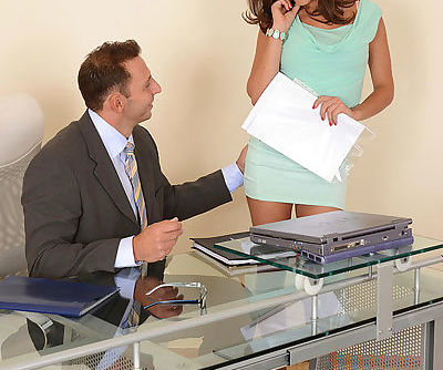 Skirt and high heel attired office workers take anal in Euro threesome
