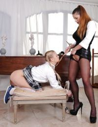 Nasty schoolgirl with pigtails gets involved into non nude lesbian action - part 2