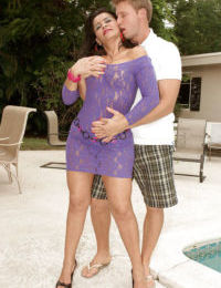 Mature in miniskirt Valery Lopez shows her boobs and gets fucked hard outside