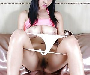 Busty asian babe with pigtails stripping and playing with a dildo - part 2