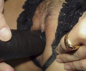 Sexy asian babe in stockings masturbating her tight pussy with a big toy - part 2