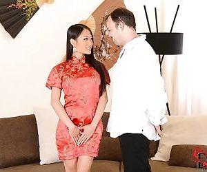 Neat Asian brunette PussyKat presents him unforgettable blowjob