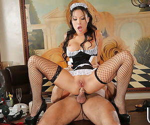 Marvelous Asian maid Asa Akira is having her legs teased - part 2