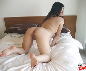 Lovely Asian babe takes off her panties to masturbate her craving cunt - part 2