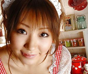 Fuckable asian pet to careful tits Reon Kosaka stripping encircling the kitchenette