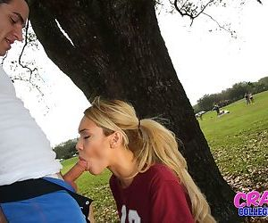 Blonde coed Mila Blaze giving blowjob in the woods before cumshot on ass