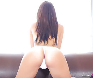Amateur Latina babe Carrie Brooks teases her shaved pussy and ass