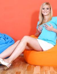 Leggy barely legal blonde babe Marry A unleashing large teen boobs