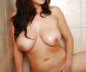 Pretty Asian amateur Mai exposing large natural juggs in shower - part 2