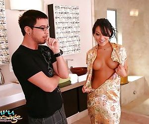 Hot asian masseuse gives cock sucking and jerking treatment in a jacuzzi