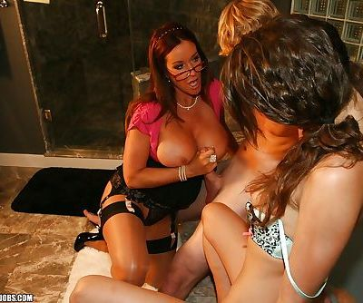 Smoking hot babes take turns jerking off a hard dick in the bath - part 2